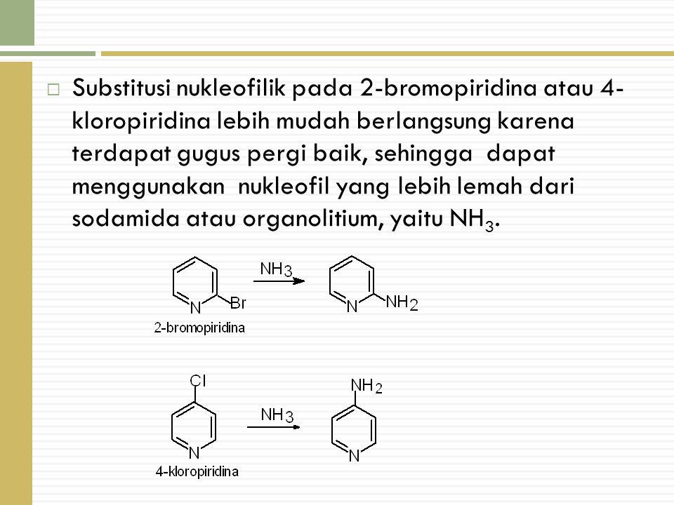 Substitusi nukleofilik pada 2-bromopiridina atau 4- kloropiridina lebih mudah berlangsung karena terdapat gugus pergi baik, sehingga dapat menggunakan nukleofil yang lebih lemah dari sodamida atau organolitium, yaitu NH3.