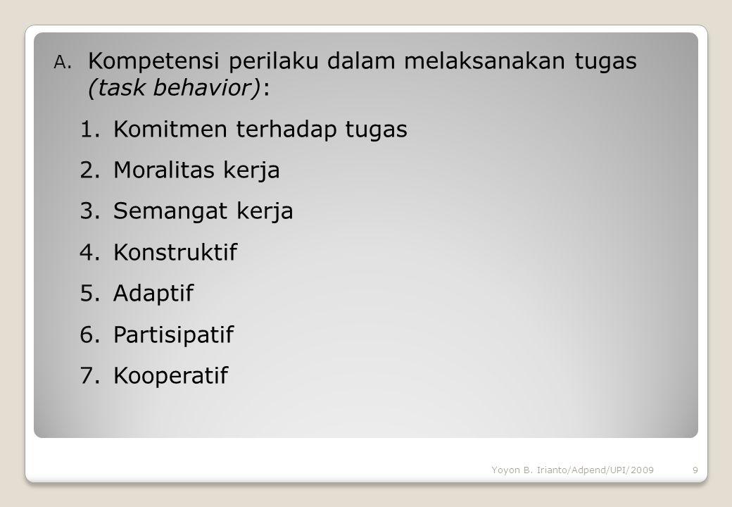Kompetensi perilaku dalam melaksanakan tugas (task behavior):