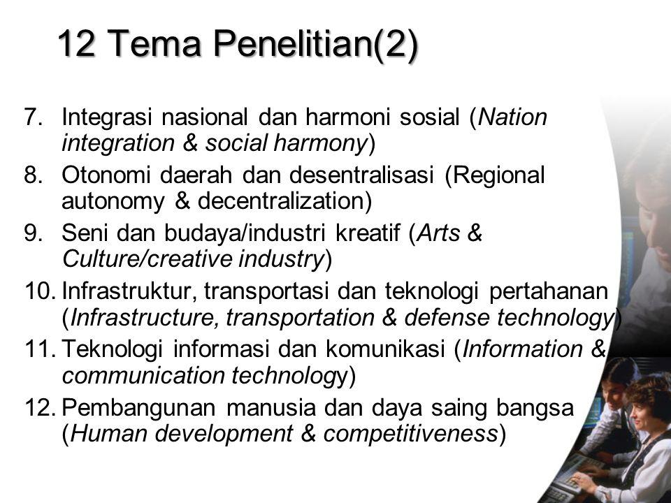 12 Tema Penelitian(2) Integrasi nasional dan harmoni sosial (Nation integration & social harmony)