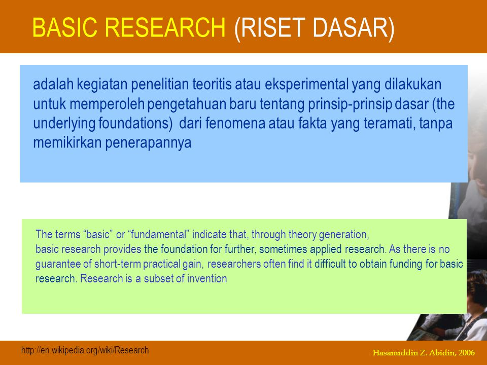 BASIC RESEARCH (RISET DASAR)