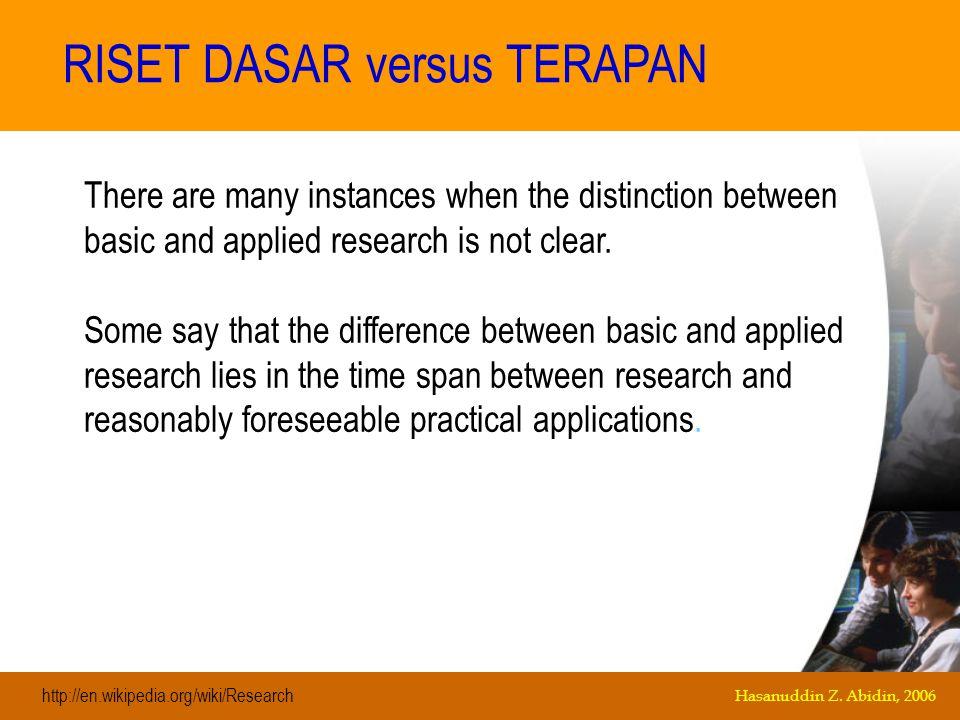 RISET DASAR versus TERAPAN