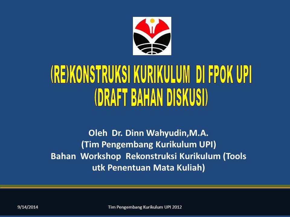 Oleh Dr. Dinn Wahyudin,M.A. (Tim Pengembang Kurikulum UPI)