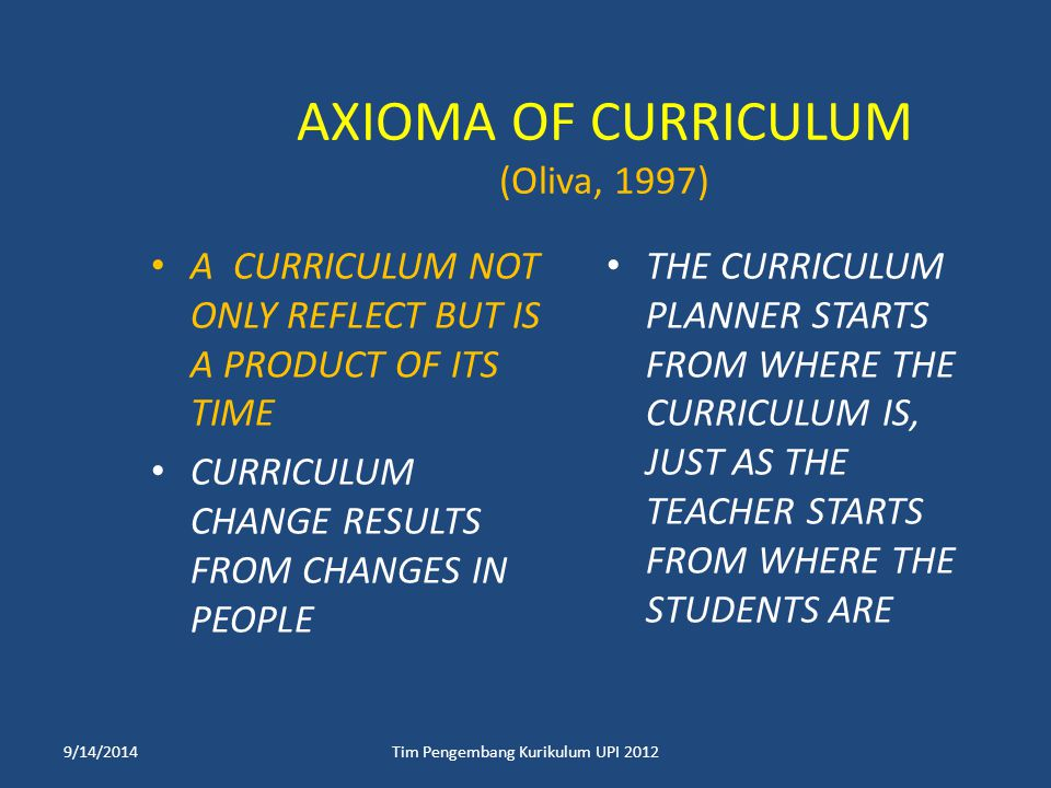 AXIOMA OF CURRICULUM (Oliva, 1997)