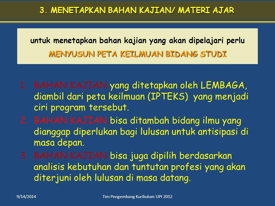 3. MENETAPKAN BAHAN KAJIAN/ MATERI AJAR