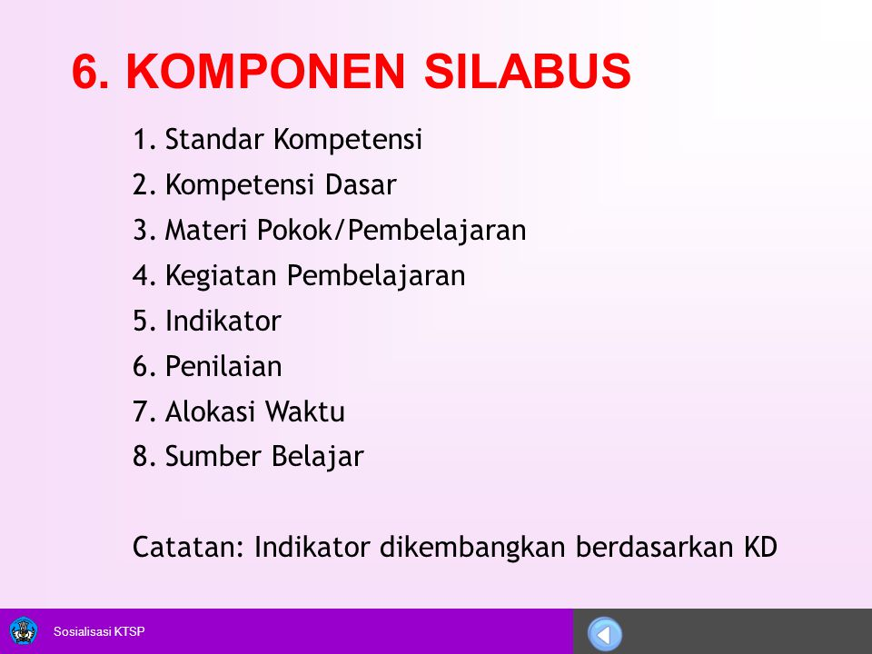 6. KOMPONEN SILABUS Standar Kompetensi Kompetensi Dasar