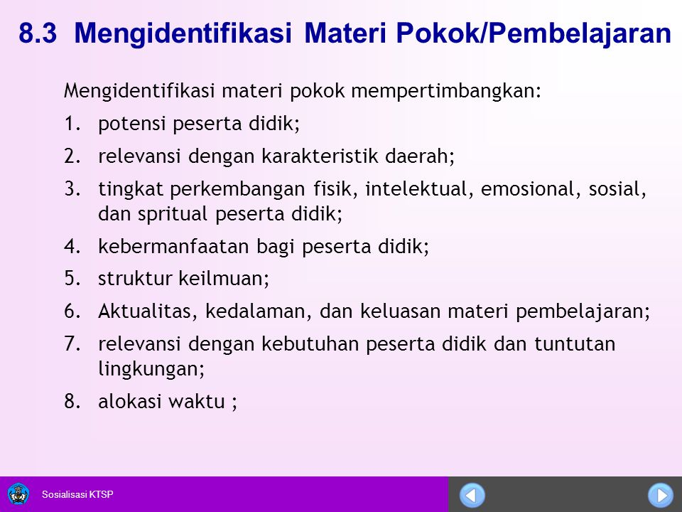 8.3 Mengidentifikasi Materi Pokok/Pembelajaran
