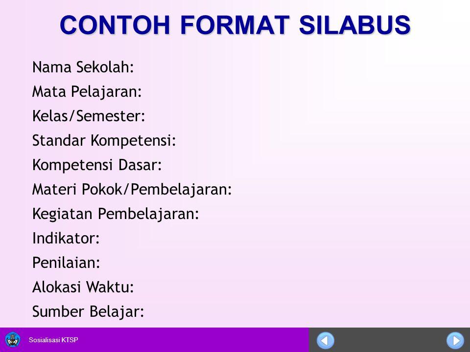 CONTOH FORMAT SILABUS Nama Sekolah: Mata Pelajaran: Kelas/Semester: