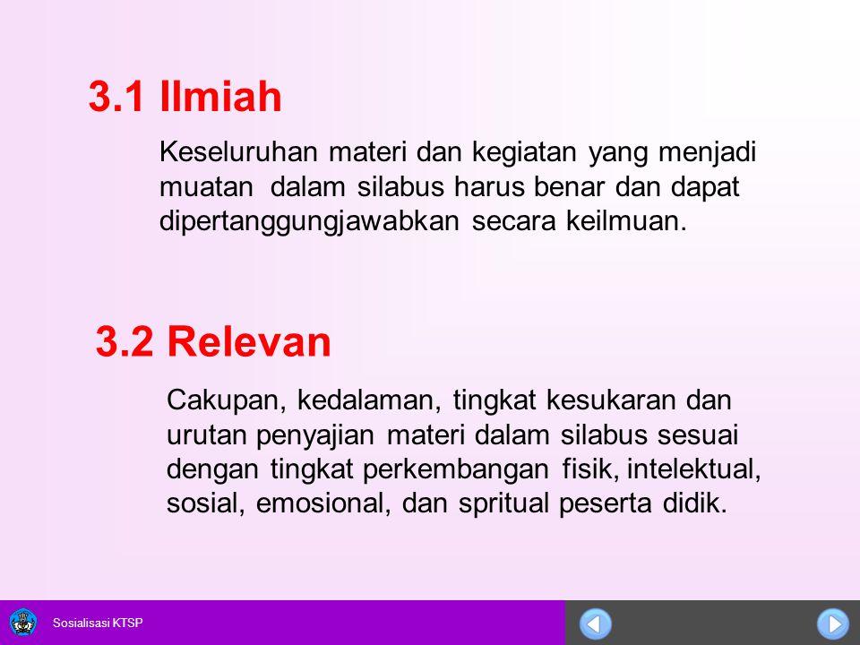 3.1 Ilmiah Keseluruhan materi dan kegiatan yang menjadi muatan dalam silabus harus benar dan dapat dipertanggungjawabkan secara keilmuan.