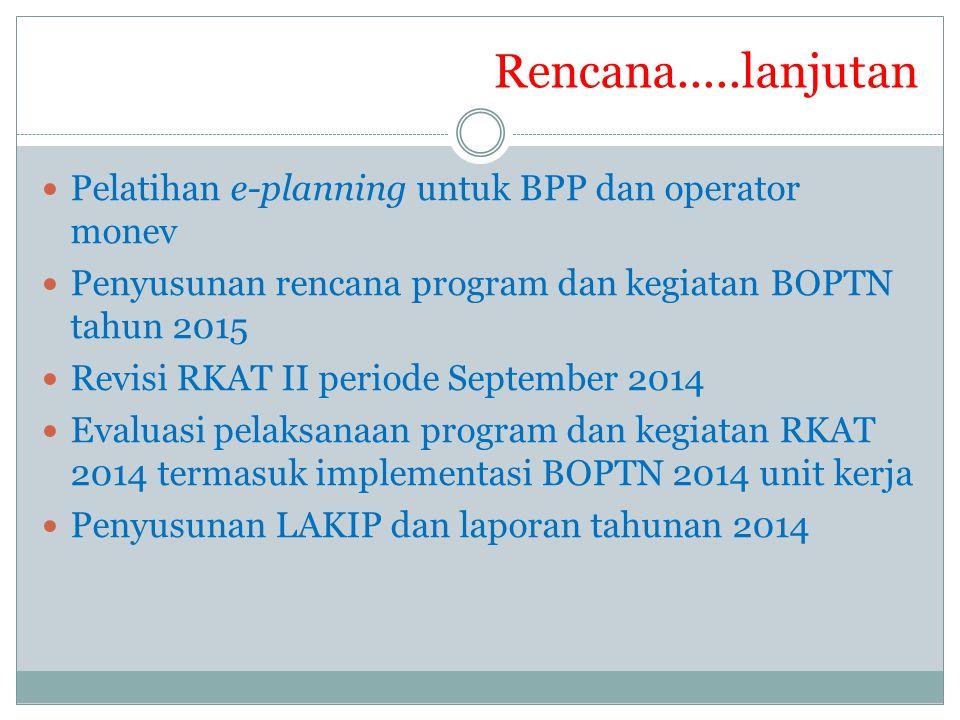 Rencana.....lanjutan Pelatihan e-planning untuk BPP dan operator monev
