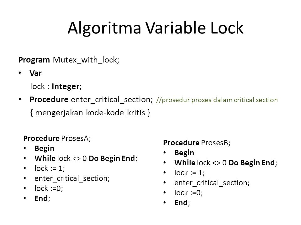 Algoritma Variable Lock