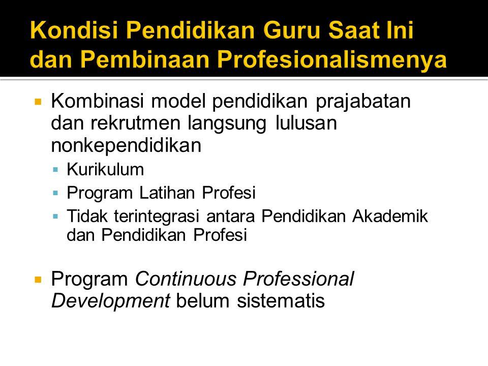 Kondisi Pendidikan Guru Saat Ini dan Pembinaan Profesionalismenya