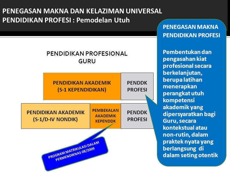 PENDIDIKAN PROFESIONAL GURU PROGRAM MATRIKULASI DALAM