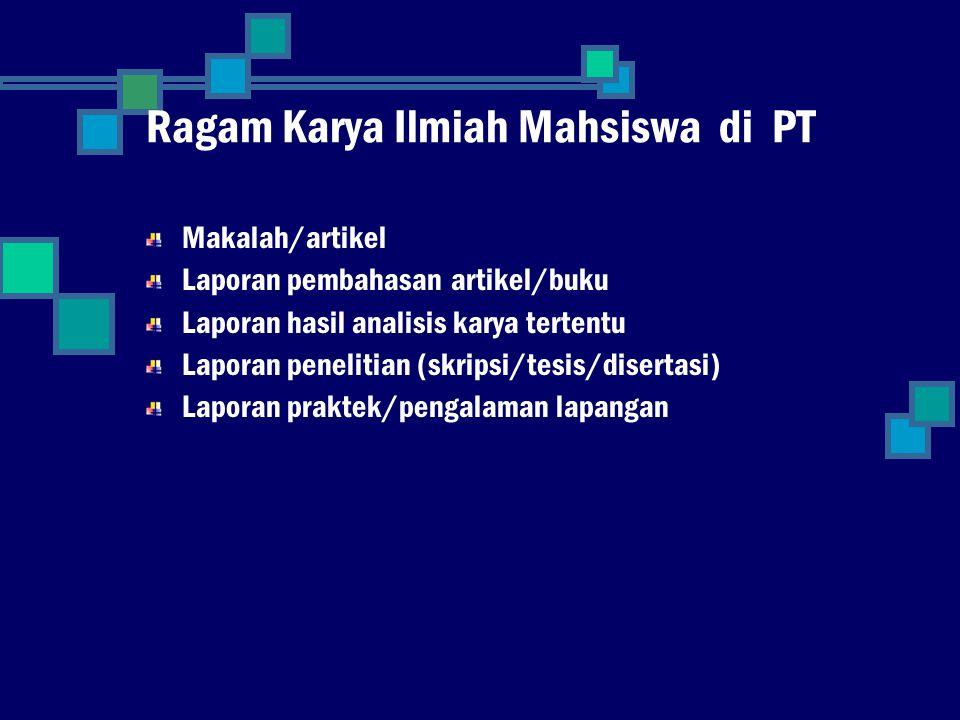 Ragam Karya Ilmiah Mahsiswa di PT