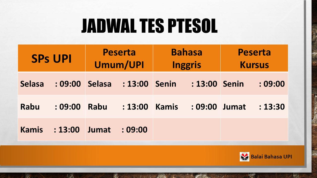 jaDWAL TES PTESOL SPs UPI Peserta Umum/UPI Bahasa Inggris