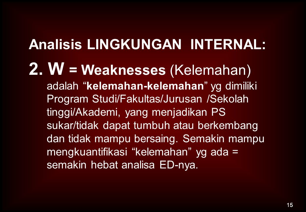 2. W = Weaknesses (Kelemahan)