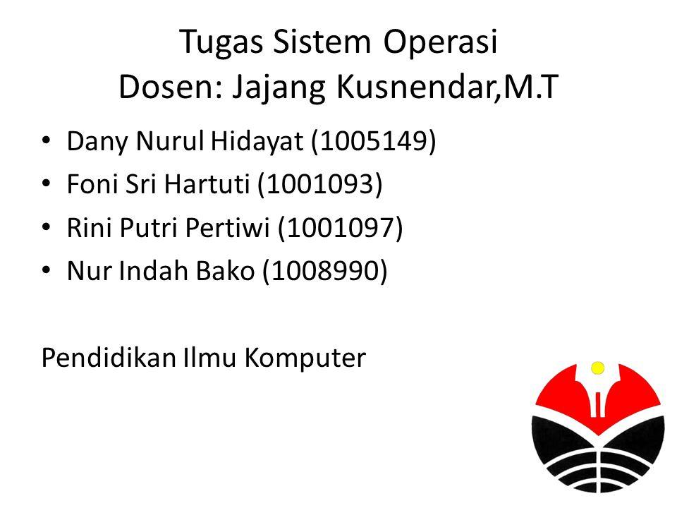 Tugas Sistem Operasi Dosen: Jajang Kusnendar,M.T