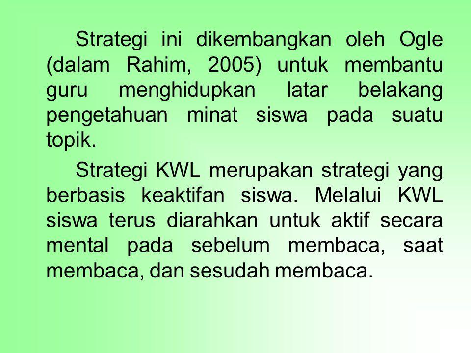 Strategi ini dikembangkan oleh Ogle (dalam Rahim, 2005) untuk membantu guru menghidupkan latar belakang pengetahuan minat siswa pada suatu topik.