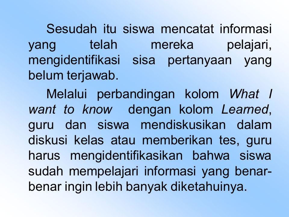 Sesudah itu siswa mencatat informasi yang telah mereka pelajari, mengidentifikasi sisa pertanyaan yang belum terjawab.
