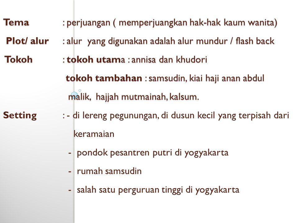 Tema. : perjuangan ( memperjuangkan hak-hak kaum wanita) Plot/ alur