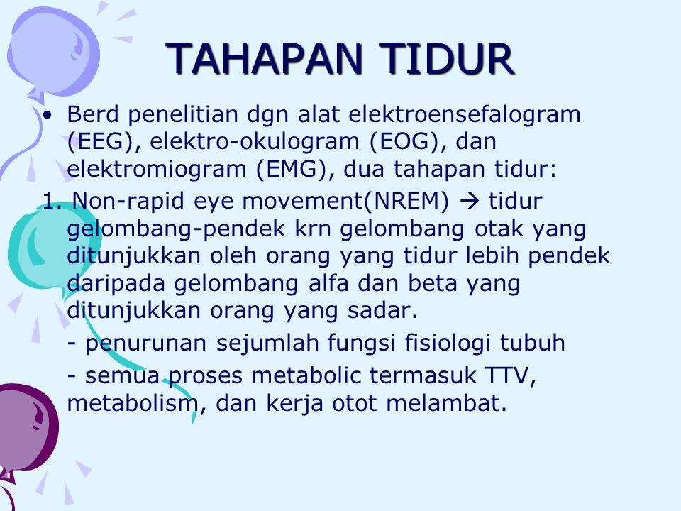 TAHAPAN TIDUR Berd penelitian dgn alat elektroensefalogram (EEG), elektro-okulogram (EOG), dan elektromiogram (EMG), dua tahapan tidur:
