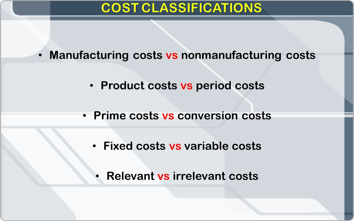 COST CLASSIFICATIONS Manufacturing costs vs nonmanufacturing costs