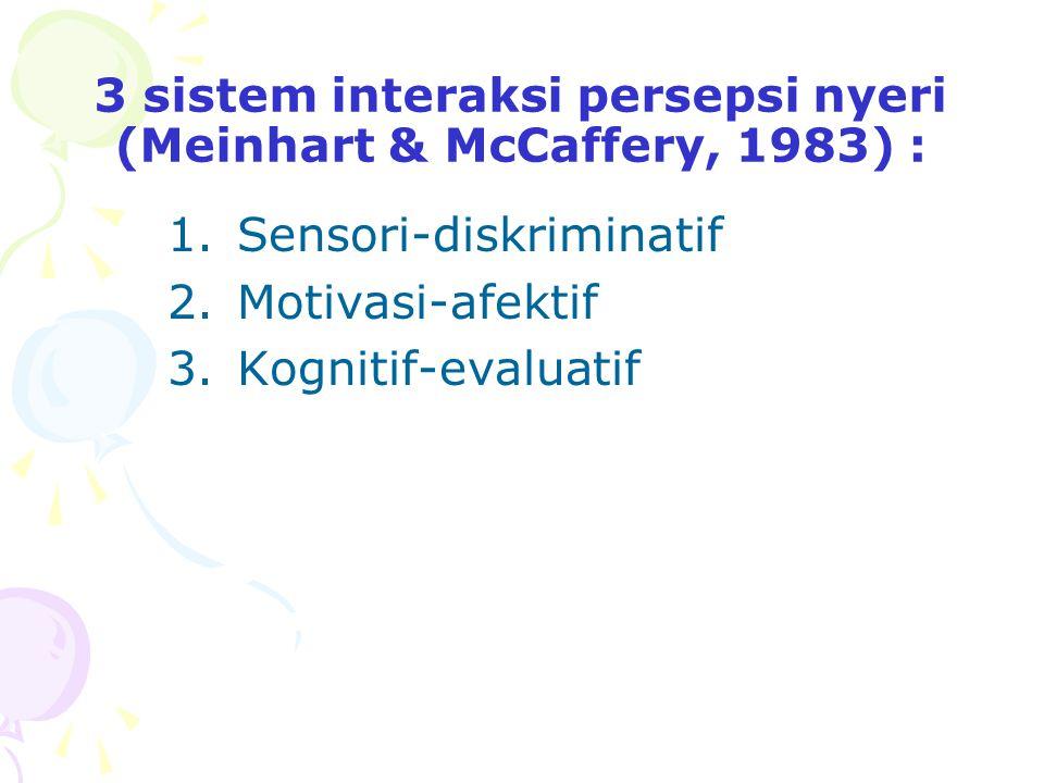 3 sistem interaksi persepsi nyeri (Meinhart & McCaffery, 1983) :
