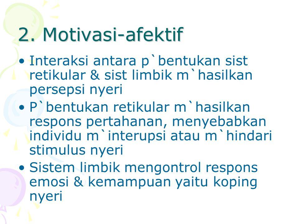2. Motivasi-afektif Interaksi antara p`bentukan sist retikular & sist limbik m`hasilkan persepsi nyeri.