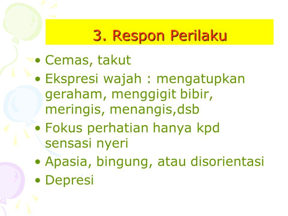 3. Respon Perilaku Cemas, takut