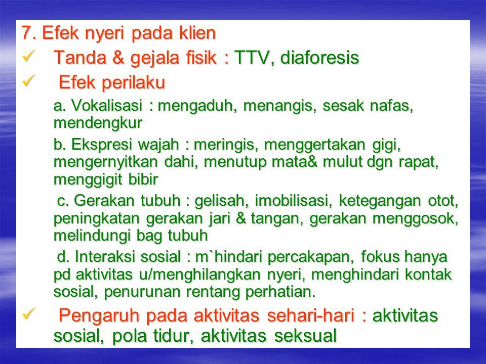 Tanda & gejala fisik : TTV, diaforesis Efek perilaku