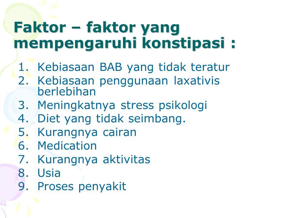 Faktor – faktor yang mempengaruhi konstipasi :