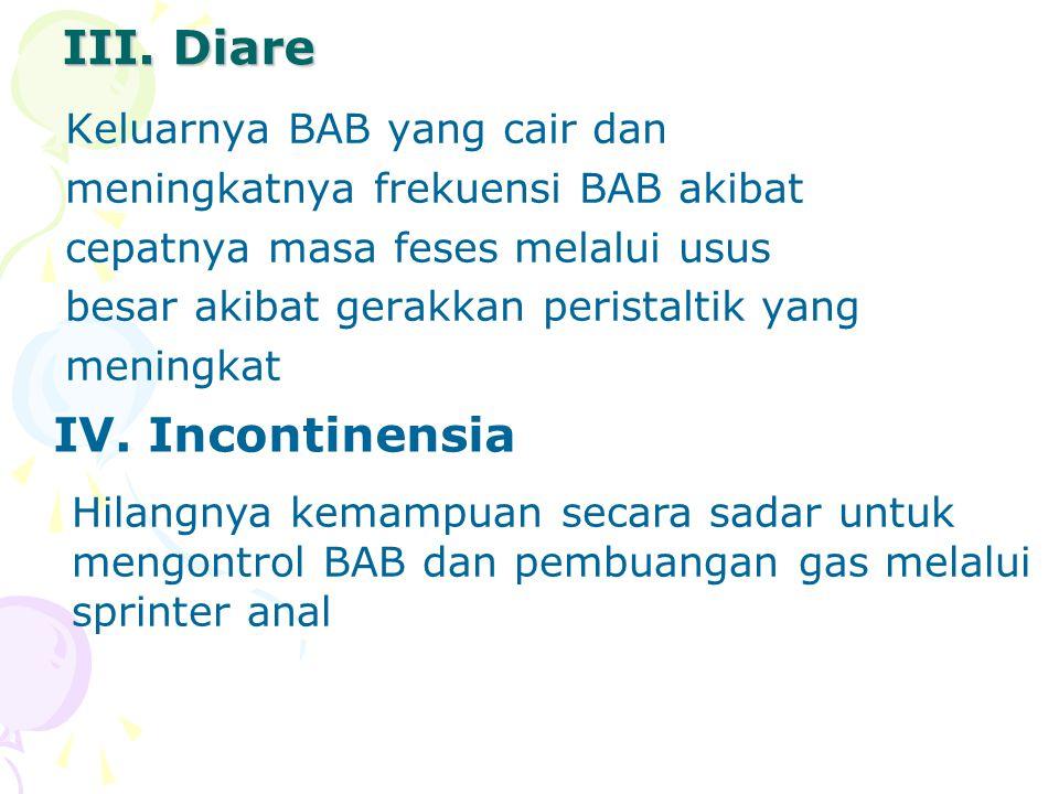 III. Diare IV. Incontinensia Keluarnya BAB yang cair dan