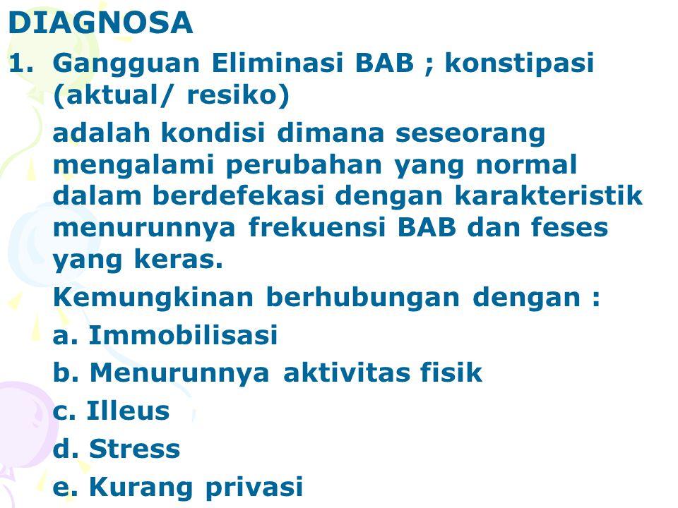 DIAGNOSA Gangguan Eliminasi BAB ; konstipasi (aktual/ resiko)
