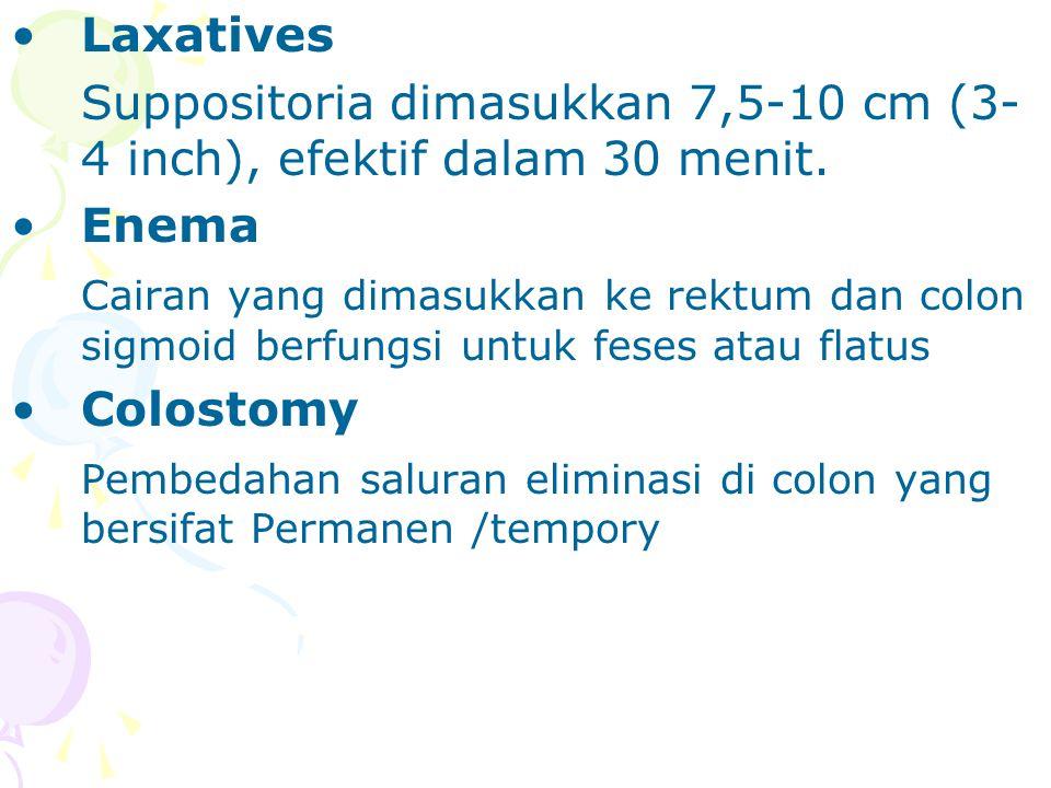 Laxatives Suppositoria dimasukkan 7,5-10 cm (3-4 inch), efektif dalam 30 menit. Enema.