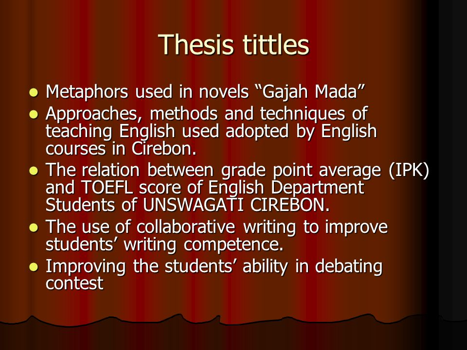 Thesis tittles Metaphors used in novels Gajah Mada