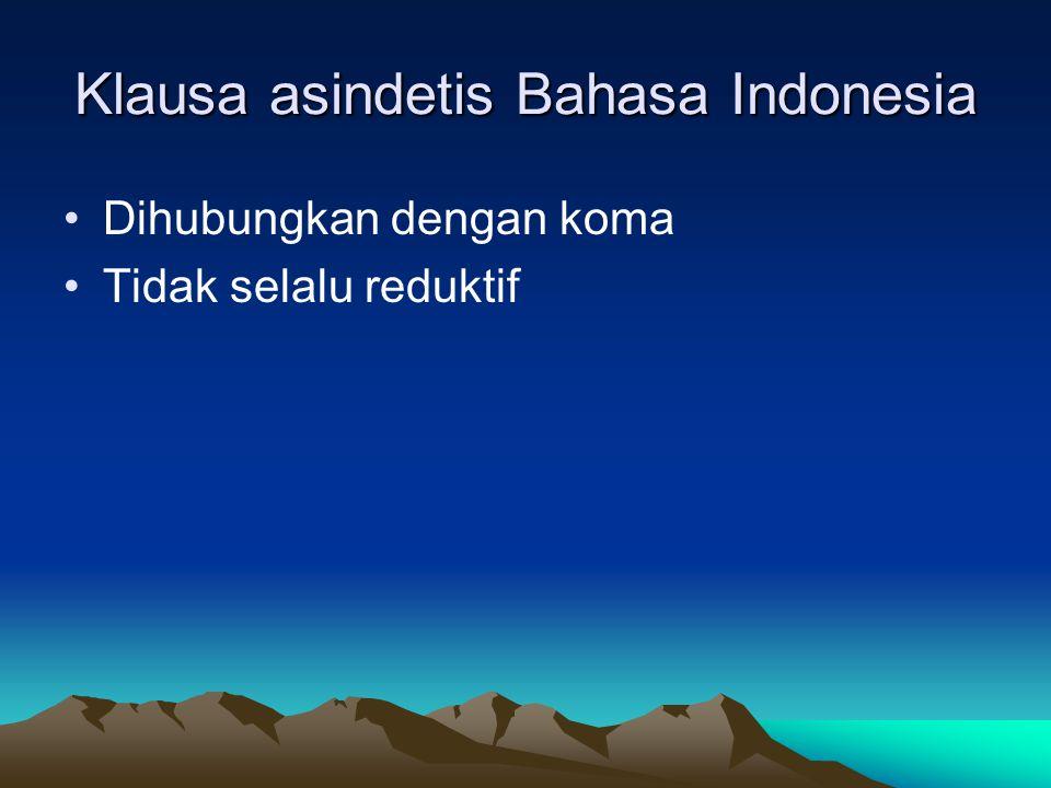Klausa asindetis Bahasa Indonesia