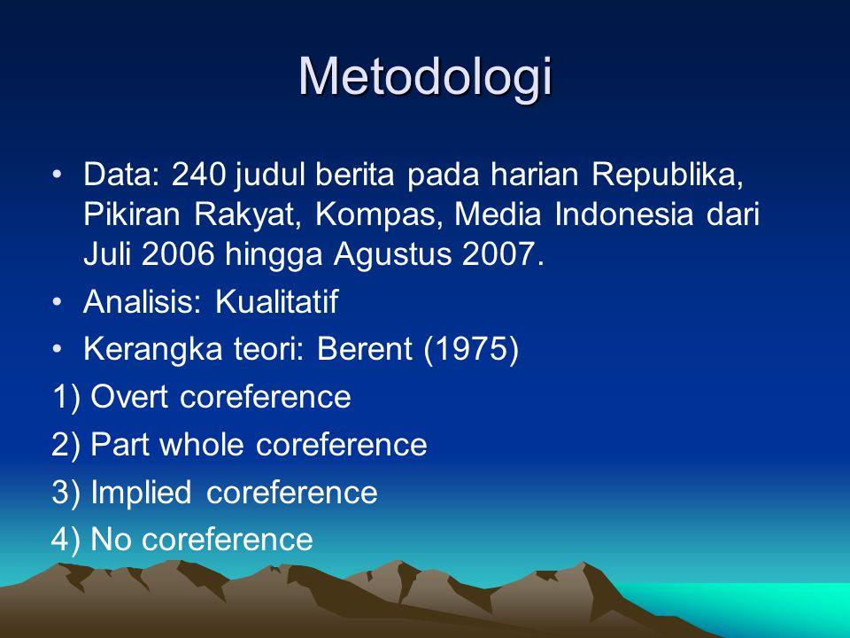 Metodologi Data: 240 judul berita pada harian Republika, Pikiran Rakyat, Kompas, Media Indonesia dari Juli 2006 hingga Agustus 2007.