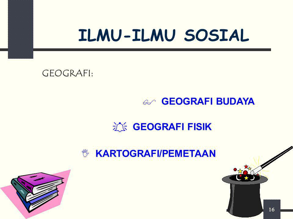 ILMU-ILMU SOSIAL GEOGRAFI: GEOGRAFI BUDAYA GEOGRAFI FISIK