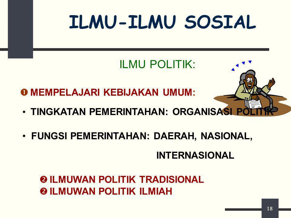 ILMU-ILMU SOSIAL ILMU POLITIK: MEMPELAJARI KEBIJAKAN UMUM: