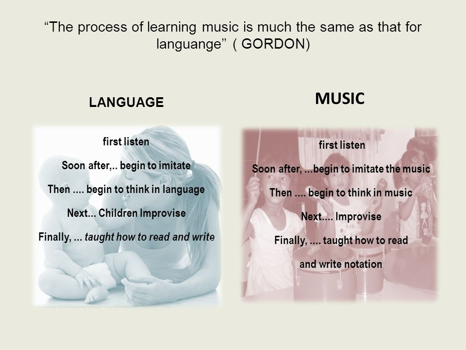 The process of learning music is much the same as that for languange'' ( GORDON)