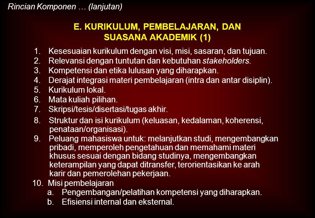 E. KURIKULUM, PEMBELAJARAN, DAN SUASANA AKADEMIK (1)