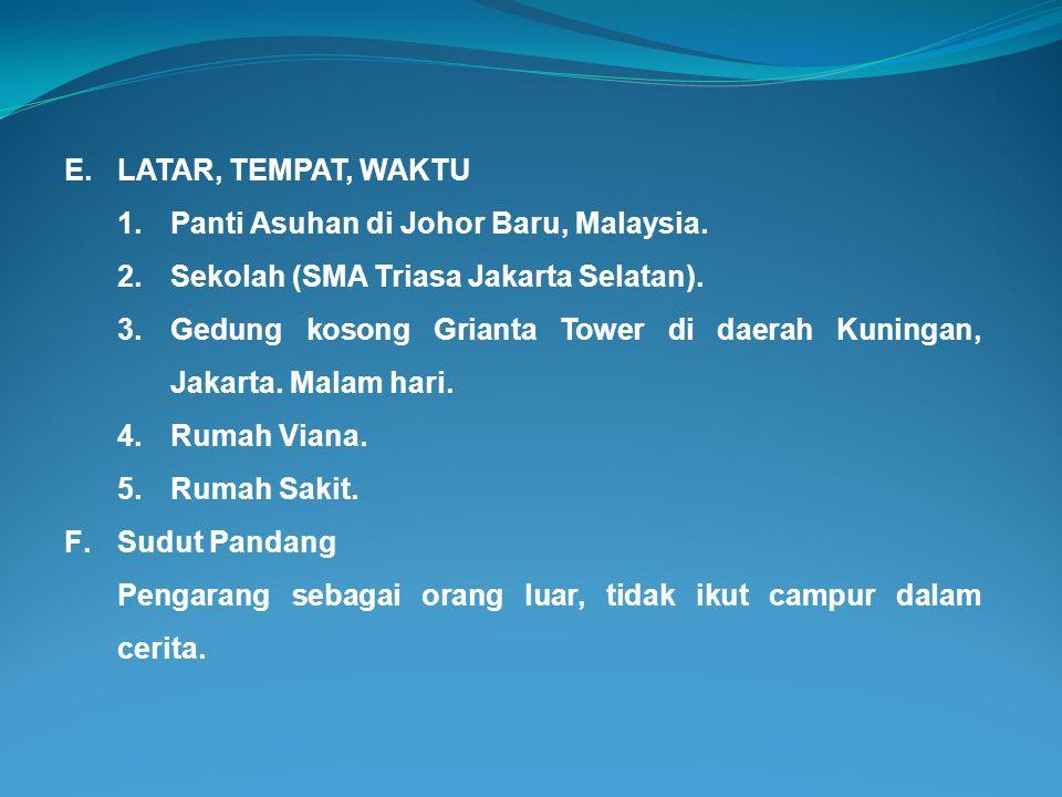 LATAR, TEMPAT, WAKTU Panti Asuhan di Johor Baru, Malaysia. Sekolah (SMA Triasa Jakarta Selatan).