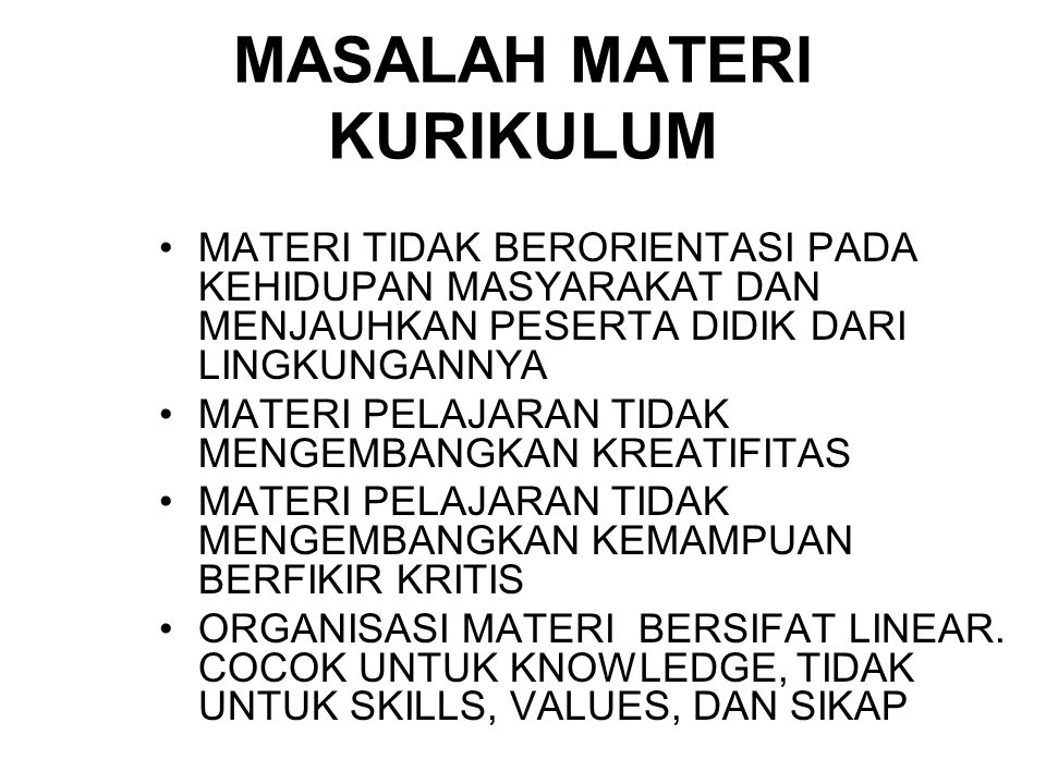 MASALAH MATERI KURIKULUM
