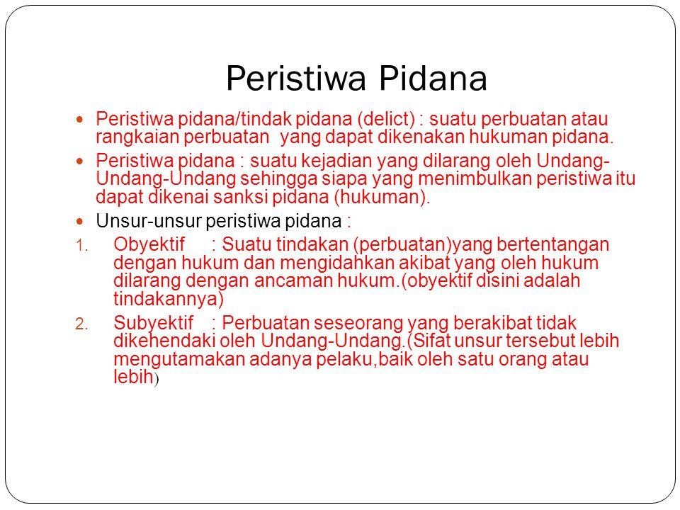 Peristiwa Pidana Peristiwa pidana/tindak pidana (delict) : suatu perbuatan atau rangkaian perbuatan yang dapat dikenakan hukuman pidana.
