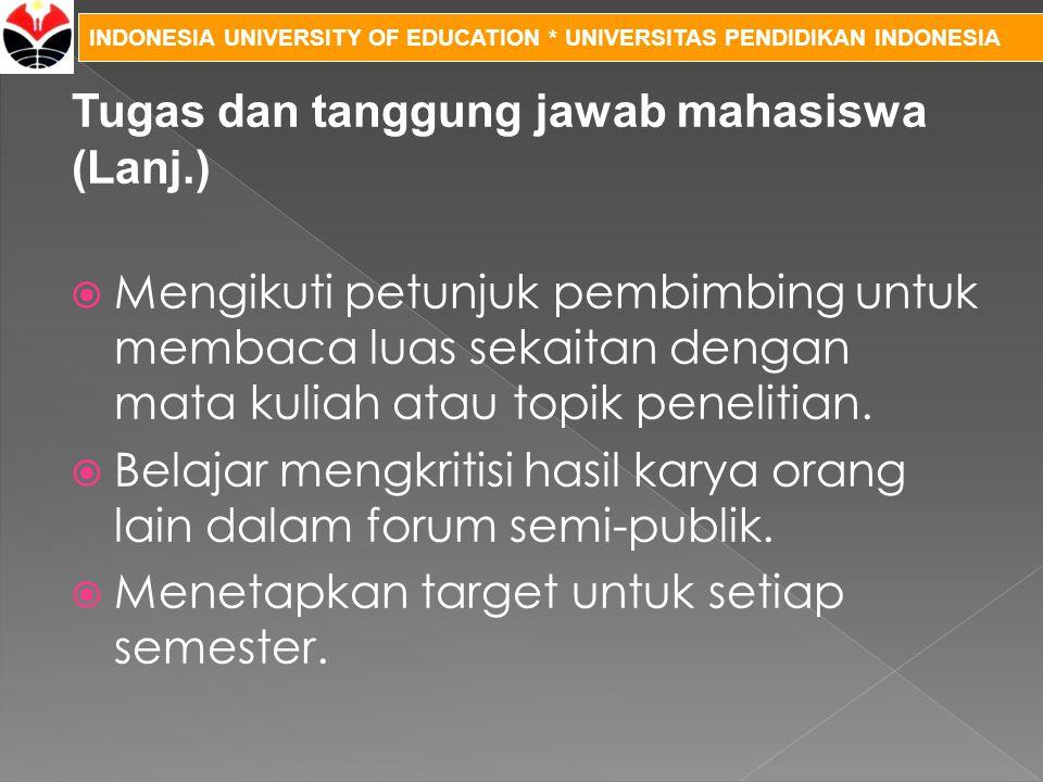 Tugas dan tanggung jawab mahasiswa (Lanj.)