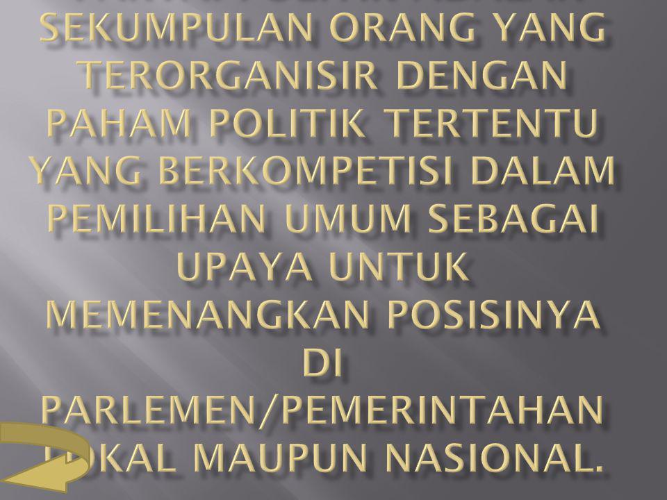 Partai Politik adalah sekumpulan orang yang terorganisir dengan paham politik tertentu yang berkompetisi dalam pemilihan umum sebagai upaya untuk memenangkan posisinya di parlemen/pemerintahan lokal maupun nasional.