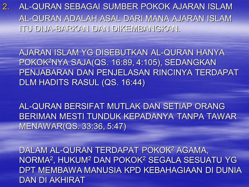 AL-QURAN SEBAGAI SUMBER POKOK AJARAN ISLAM