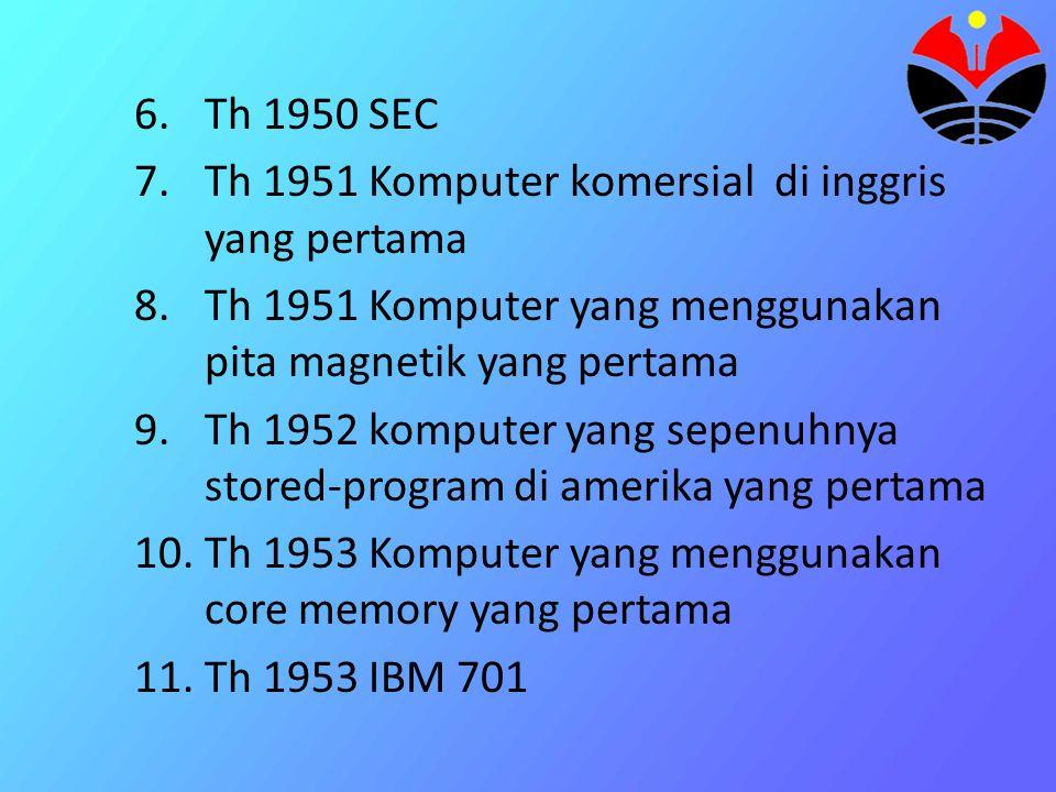 Th 1950 SEC Th 1951 Komputer komersial di inggris yang pertama. Th 1951 Komputer yang menggunakan pita magnetik yang pertama.