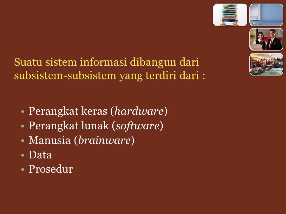 Suatu sistem informasi dibangun dari subsistem-subsistem yang terdiri dari :