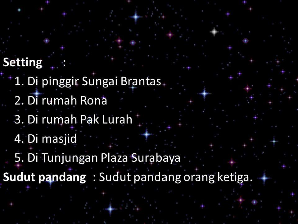 Setting : 1. Di pinggir Sungai Brantas. 2. Di rumah Rona. 3. Di rumah Pak Lurah. 4. Di masjid. 5. Di Tunjungan Plaza Surabaya.