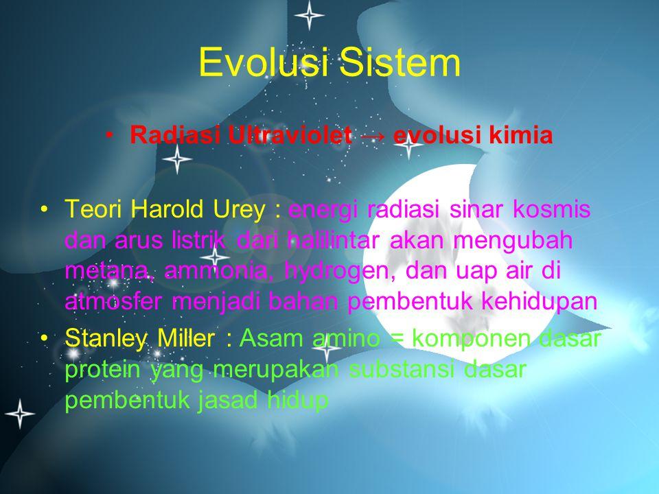 Radiasi Ultraviolet → evolusi kimia